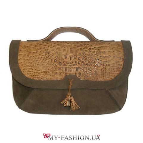 Женская сумка из натуральной кожи нубук и тисненной кожи
