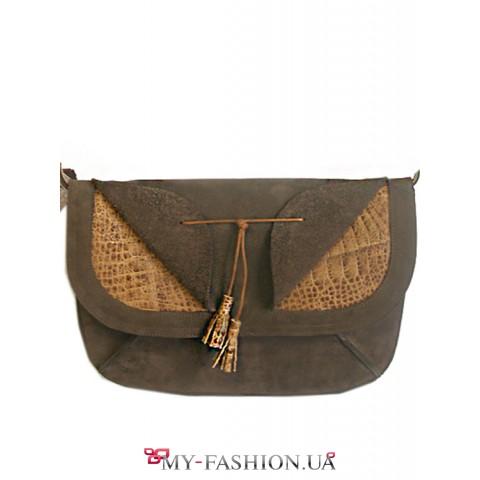 Кожаная женская сумка с ремешком