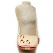 Бежево-розовая сумочка из натуральной кожи