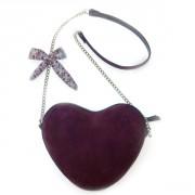 Бордовая женская сумка в форме сердечка