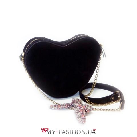 Чёрная замшевая сумка с цепочкой