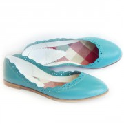 Женские кожаные балетки бирюзового цвета