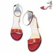 Красные женственные босоножки с цветным каблуком