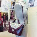 Строгая сумка-портфель с текстильным декором