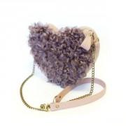 Лавандовая сумка-сердечко с натуральным мехом