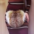 Сумка-сердечко со вставкой из меха лисицы