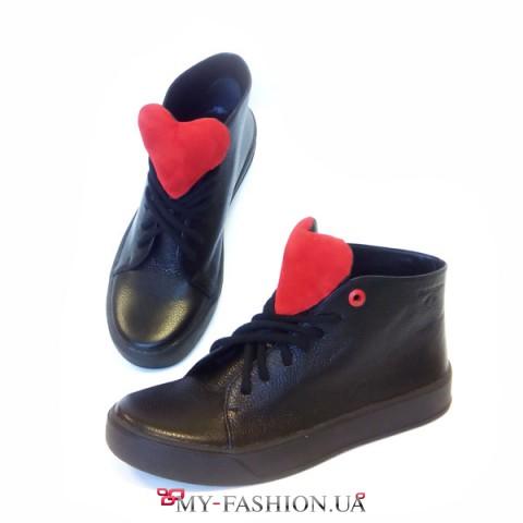 Дизайнерские кеды-кроссовки черного цвета