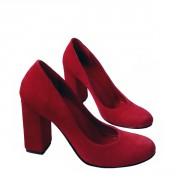 Туфли на каблуке карминно-красного цвета с нотками малины