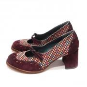 Стильные женские туфли из жаккардового текстиля и кожи-замш
