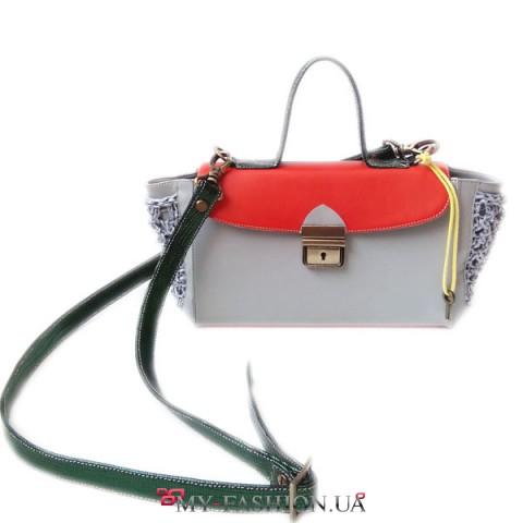 Прямоугольная сумка-портфель в стиле color block