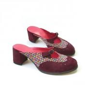 Мюли из фактурного текстиля и кожи-замши бордового цвет