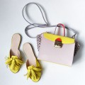 Лиммоного цвета мюли с кожаными кисточками