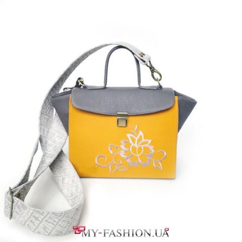 Стильная комбинированная сумка-портфель из  фактурной кожи-флотар