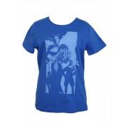 Летняя синяя женская футболка с принтом