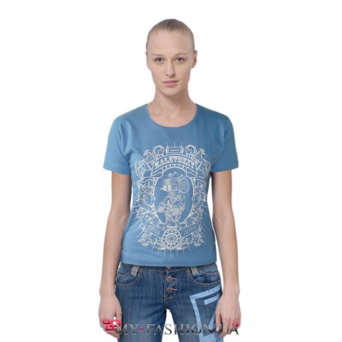 Голубая женская футболка с принтом короткий рукав