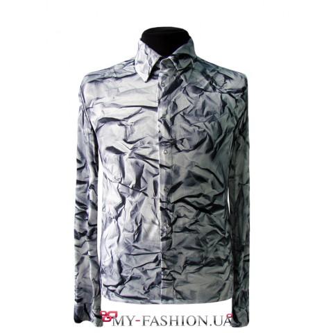 Дизайнерская мужская рубашка с оригинальным принтом