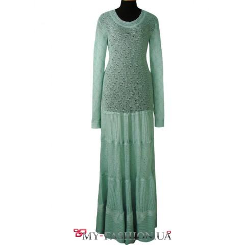 Длинное платье цвета мяты из мохера