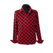 Стильная красная мужская рубашка в горошек