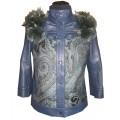 Кожаная синяя куртка из высококачественной кожи и габардина