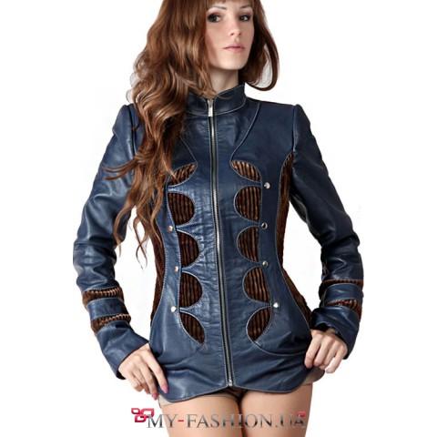 Кожаная куртка с вельветовыми аппликациями