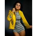 Жёлтая куртка с дизайнерской аппликацией