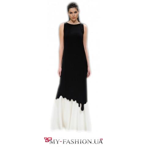 Имиджевое чёрно-белое платье максимальной длины