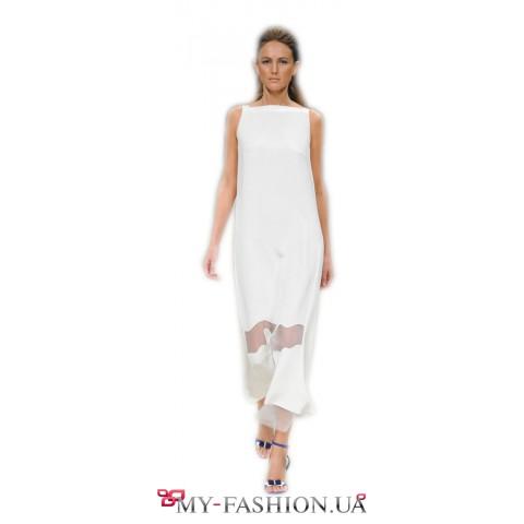 Белое дизайнерское платье свободного кроя
