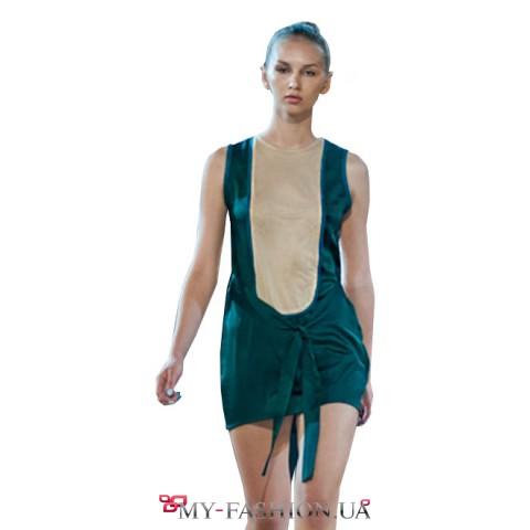 Коктейльное платье из шёлка и замши