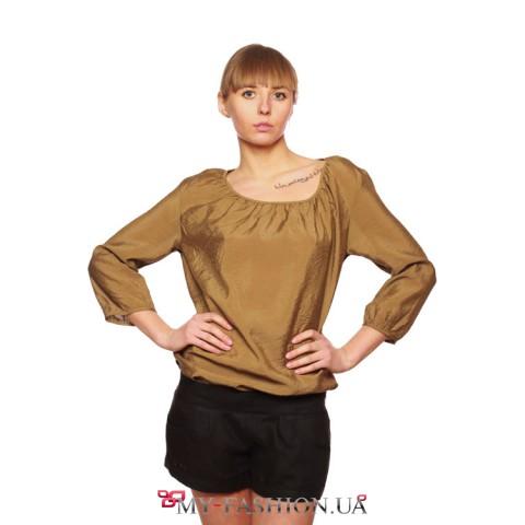 Блуза женская поплин золотого оттенка