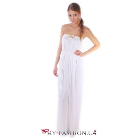 """Вечернее шелковое платье """"Белый лебедь"""""""