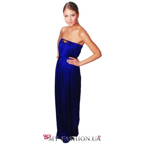 Вечернее платье в пол цвета индиго