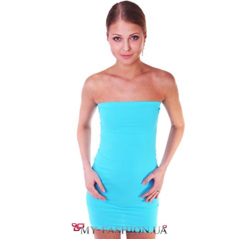 Бирюзовое облегающее платье
