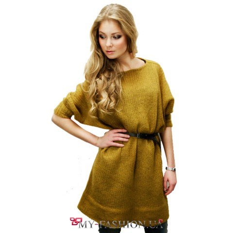 Платье-свитер ажурной
