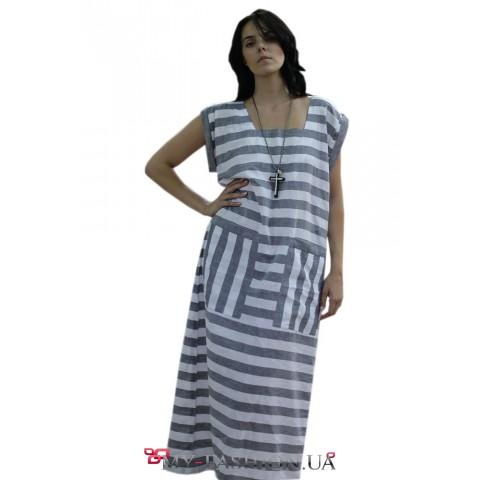 Длинное полосатое платье из льна
