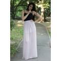 Белая шифоновая юбка максимальной длины