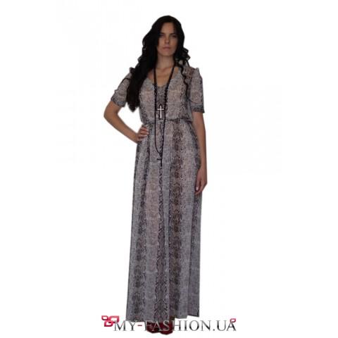 Длинное шифоновое платье с оригинальным принтом