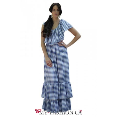 Клетчатое длинное платье из батиста
