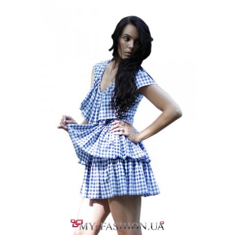 Клетчатое короткое платье из батиста