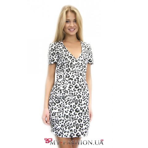 Короткое чёрно-белое леопардовое платье