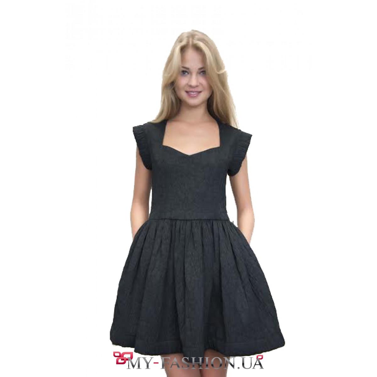 Черное пышное платье короткое купить в