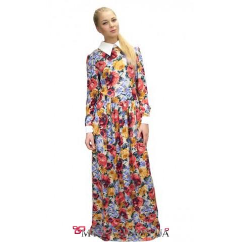Длинное цветастое платье с белым воротником
