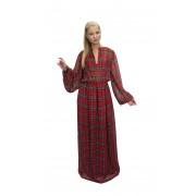 Длинное платье в красную шотландскую клеточку