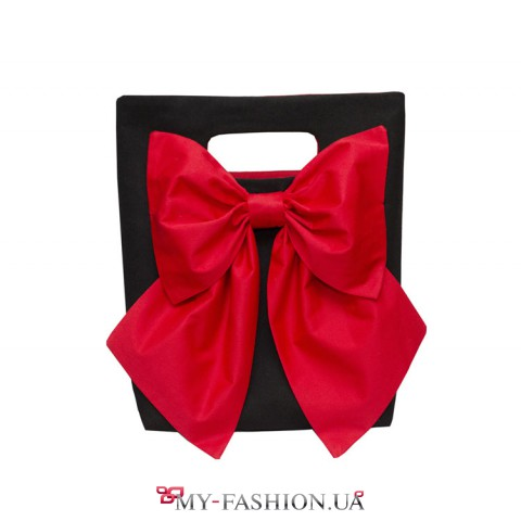 Чёрная женская сумка с красным бантом