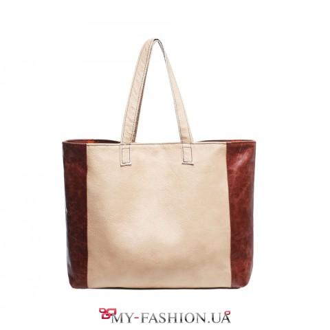 Контрастная сумка из натуральной кожи