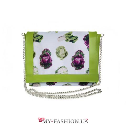 Кожаная сумочка со стильным овощным принтом