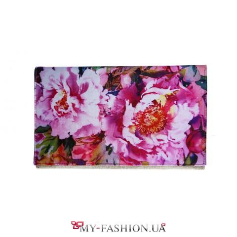 Сумка-клатч с цветочным принтом из хлопка и габардина